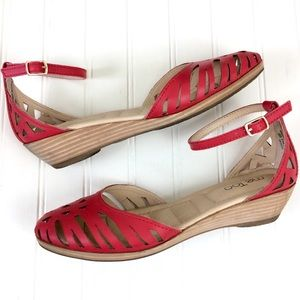 Me Too Nalani red leather laser cut wedge sandals